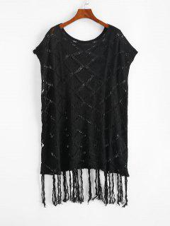 Open Knit Tassels Cape Cover Up Dress - Black