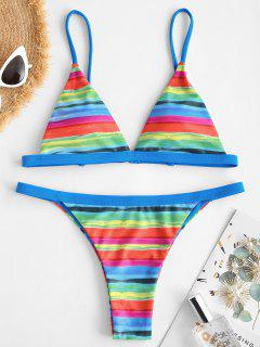 ZAFUL Rainbow Striped Tanga String Bikini Swimwear - Blue S