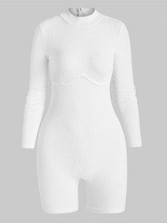 Ribbed Underbust Detail Mock Neck Skinny Romper - White S