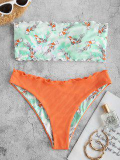 ZAFUL Fish Print Ribbed Lettuce Trim Bandeau Bikini Swimwear - Orange S