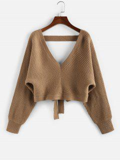 ZAFUL Tie Back Plunging Batwing Sleeve Sweater - Coffee L