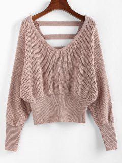 ZAFUL Batwing Sleeve Ladder Cut Jumper Sweater - Light Pink M