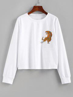 ZAFUL Tiger Print Pullover Sweatshirt - White S