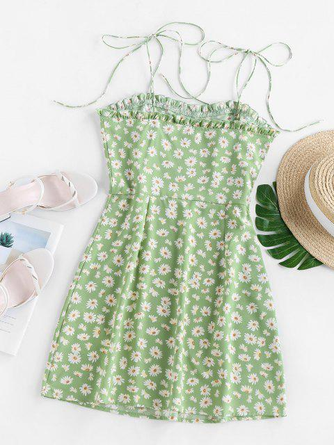 outfit ZAFUL Daisy Print Mini Cami Dress - LIGHT GREEN L Mobile
