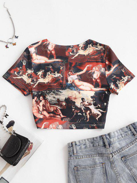 buy Twisted Renaissance Print Plunging Crop T-shirt - MULTI S Mobile