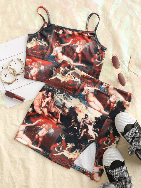 lady Slit Renaissance Angel Print Bodycon Skirt Set - MULTI L Mobile