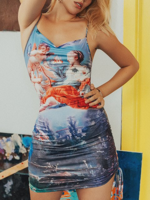 women Angel Print Cinched Side Cami Dress - PURPLE M Mobile