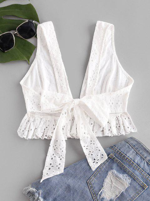 fancy Ruffle Back Knot Broderie Anglaise Tank Top - WHITE L Mobile
