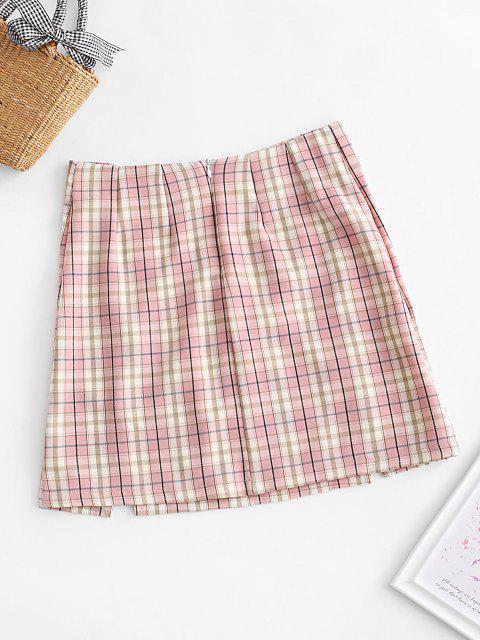 womens Plaid Slit Front Mini Skirt - ROSE L Mobile