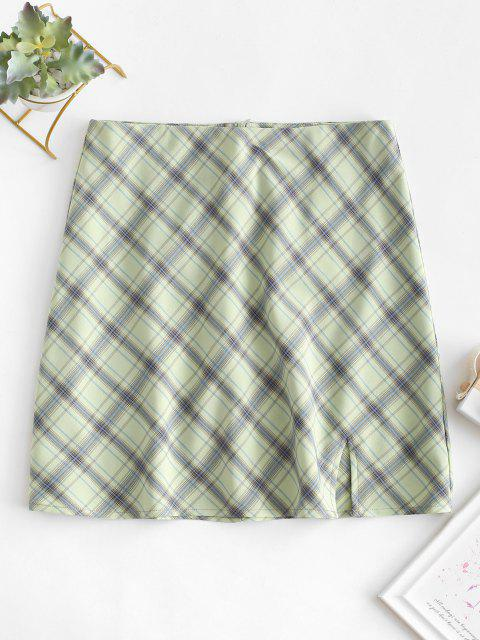 online Plaid Slit A Line Skirt - GREEN M Mobile