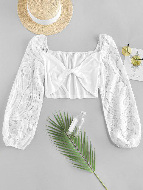 ladies ZAFUL Lace Sleeve Twist Cropped Blouse - WHITE XL Mobile