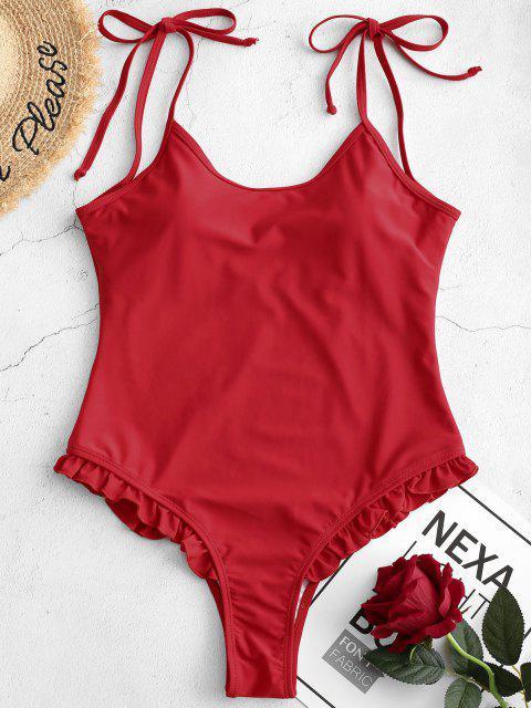 ZAFUL Tie Frilled One-piece Swimsuit - الحمم الحمراء XL Mobile