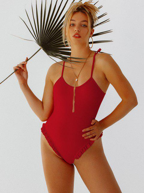 lady ZAFUL Tie Frilled One-piece Swimsuit - LAVA RED XL Mobile