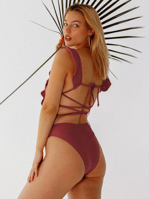 shop ZAFUL Lattice Criss Cross Ruffle Swimsuit - CHESTNUT M Mobile