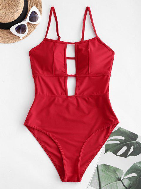 ZAFUL Einteiliger Badebekleidung mit Ausschnitt und Riemchen - Lava Rot L Mobile
