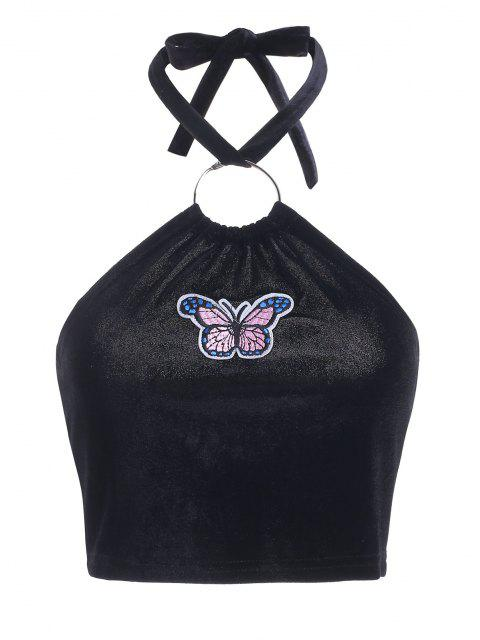 best Butterfly Patched Halter Crop Tank Top - BLACK L Mobile
