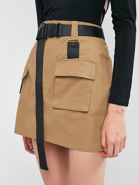 women's ZAFUL Buckled Belt Utility Skirt - TAN S Mobile
