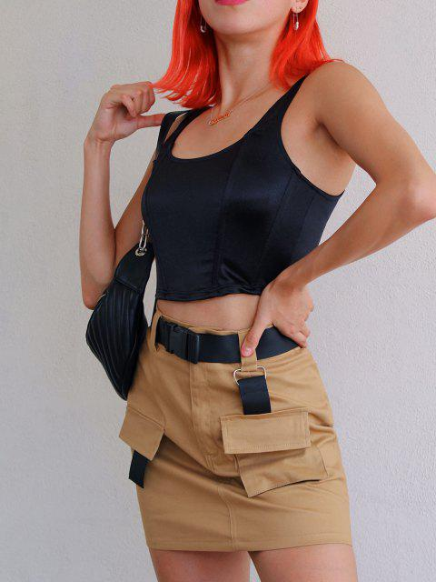 lady ZAFUL Buckled Belt Utility Skirt - TAN M Mobile
