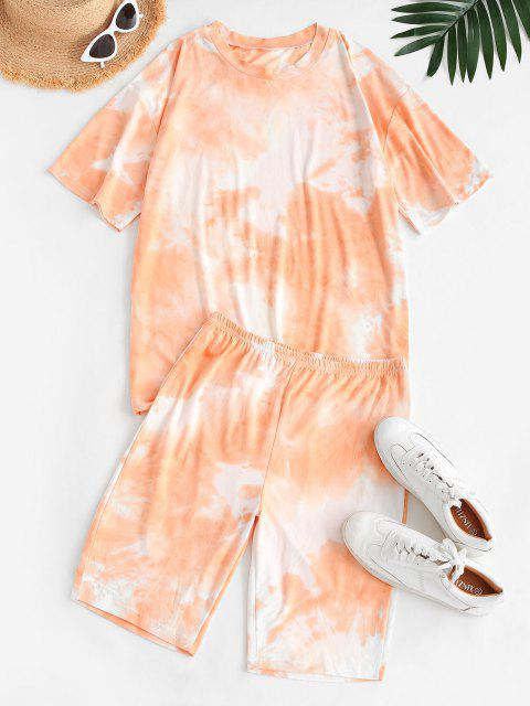 best Tie Dye Lounge Casual Two Piece Set - WHITE S Mobile