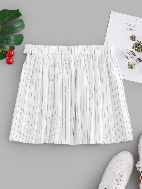 buy Stripes Mini Pleated Skirt - WHITE M Mobile
