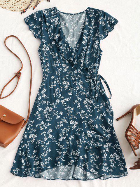 hot Tiny Floral Ruffle Mini Wrap Dress - PEACOCK BLUE M Mobile