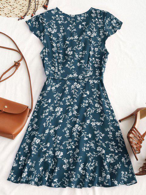 Winziger Blumen Rüschen Mini Wickelkleid - Pfauenblau M Mobile