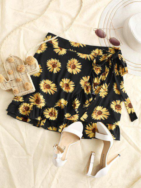 outfit Sunflower Flounce Overlap Knotted Skirt - BLACK M Mobile