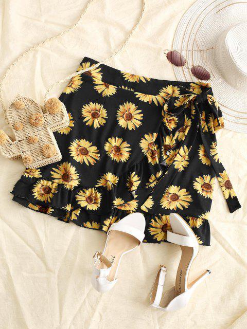 online Sunflower Flounce Overlap Knotted Skirt - BLACK S Mobile