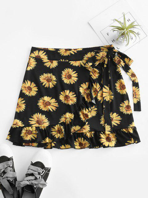 shops Sunflower Flounce Overlap Knotted Skirt - BLACK L Mobile