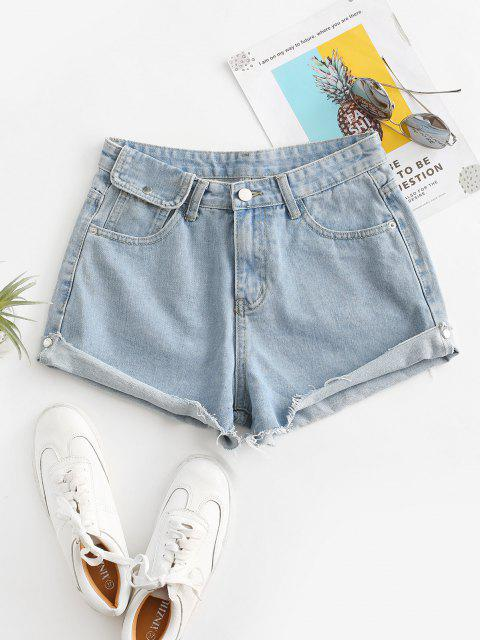 Cuff Off Cuffed Jean Shorts - جينز ازرق L Mobile