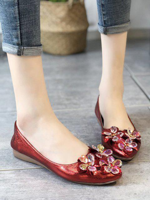 sale Floral Pointed Toe Flat Shoes - LAVA RED EU 39 Mobile