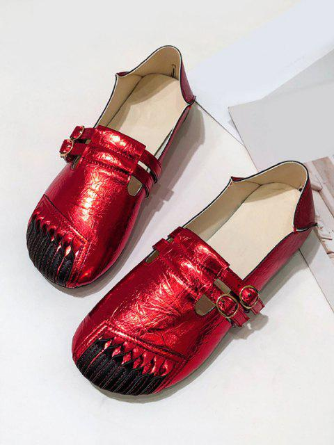women Dual Buckle Strap Leather Flat Shoes - CHESTNUT RED EU 40 Mobile