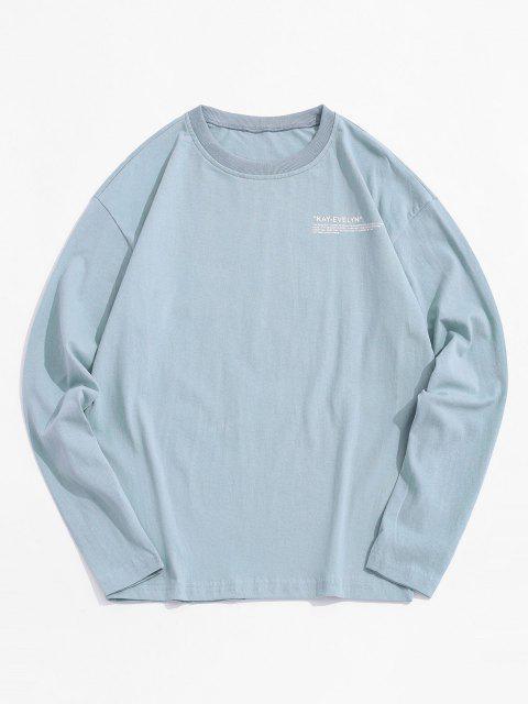 Camiseta Impressa com Gola Redonda - Ardósia Azul   4XL Mobile