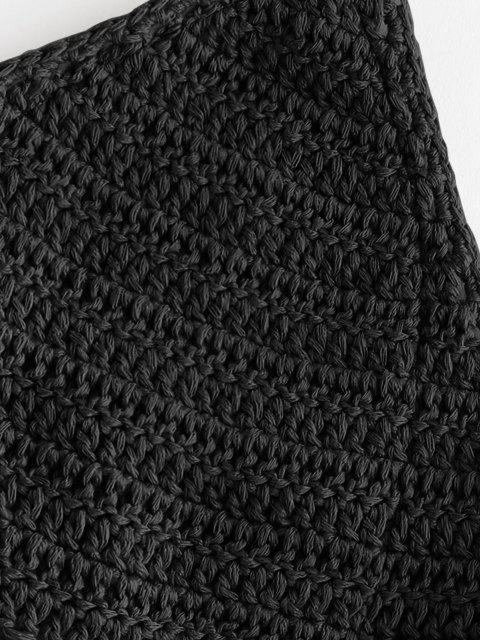new Shell Embellished Crochet Bralette Bikini Top - BLACK M Mobile