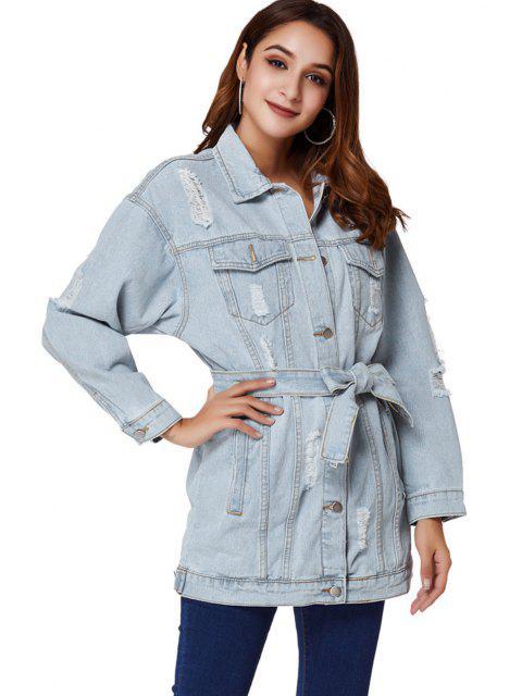 outfit Boyfriend Ripped Light Wash Belt Denim Coat - LIGHT BLUE M Mobile