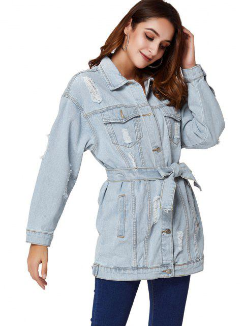 fashion Boyfriend Ripped Light Wash Belt Denim Coat - LIGHT BLUE S Mobile