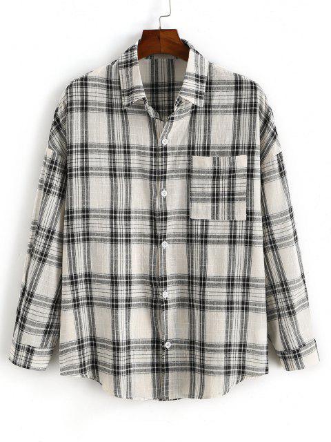 チェック柄のポケットパッチドロップショルダーシャツ - ブラック 2XL Mobile