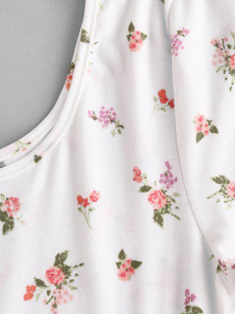 lady Floral Short Sleeve Tee Bodysuit - WHITE M Mobile