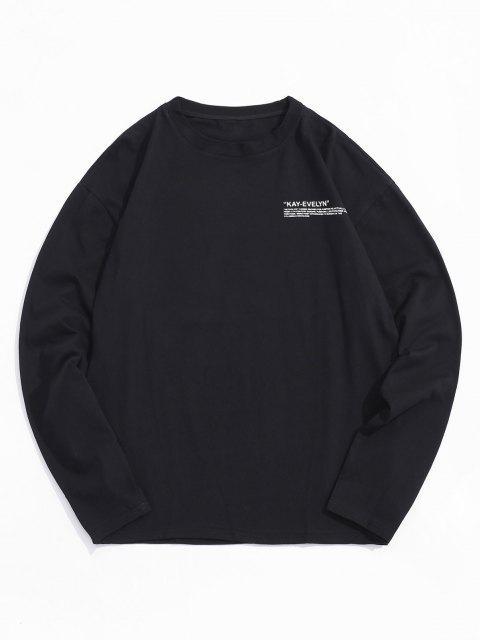 Camiseta Cuello Redondo Estampado Letra - Negro 3XL Mobile