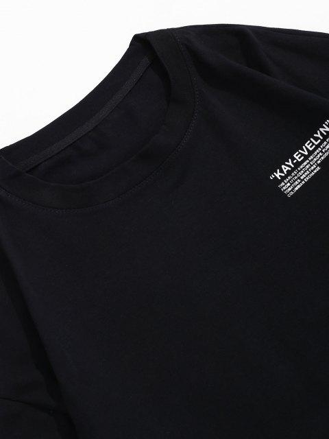 Camiseta Cuello Redondo Estampado Letra - Negro 4XL Mobile