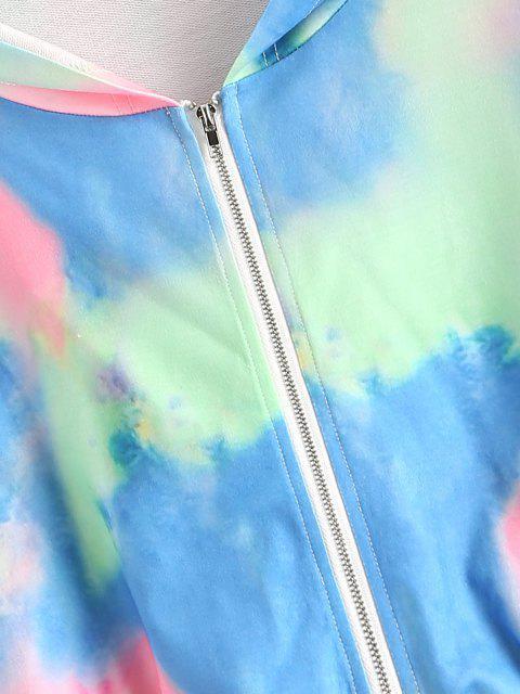 shops Tie Dye Hooded Zipper Crop Jacket - LIGHT PINK M Mobile