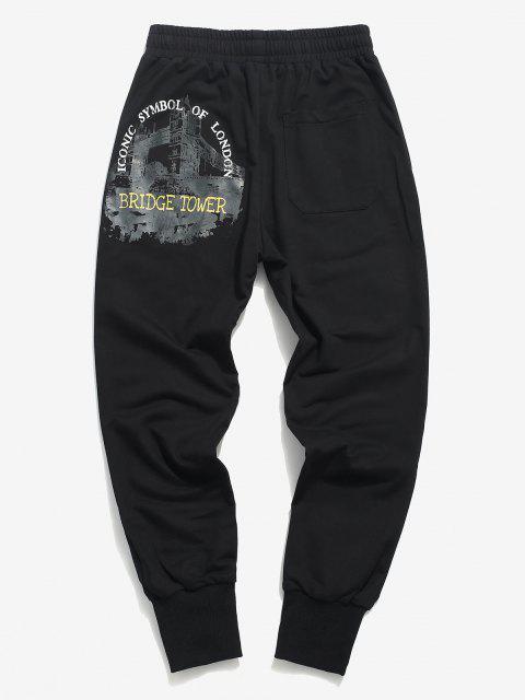 Pantalones Deportivos con Estampado de Letras - Negro XS Mobile