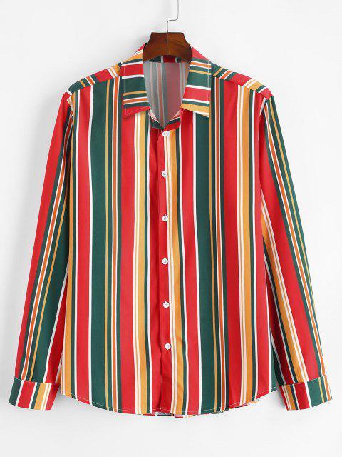 カジュアルシャツアップZAFULカラフルなストライプボタン - マルチ M Mobile