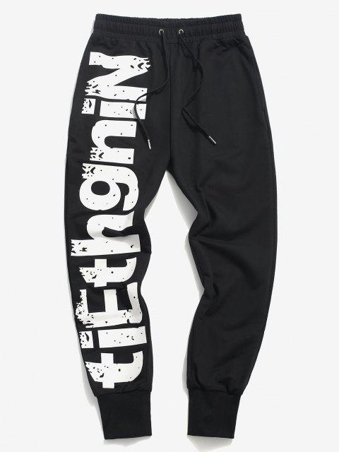 shop Letter Print Drawstring Graphic Sweatpants - BLACK S Mobile