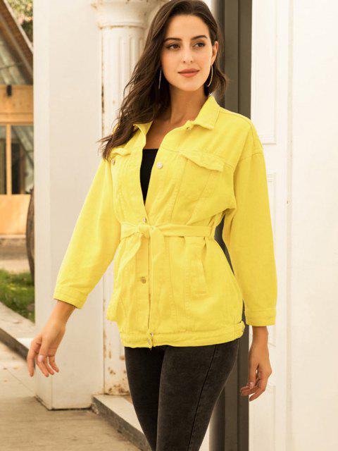 women Colored Belt Denim Coat - YELLOW S Mobile