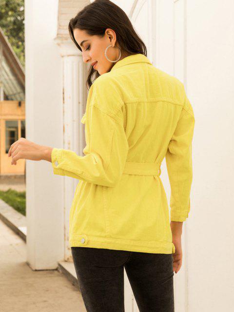 lady Colored Belt Denim Coat - YELLOW XS Mobile