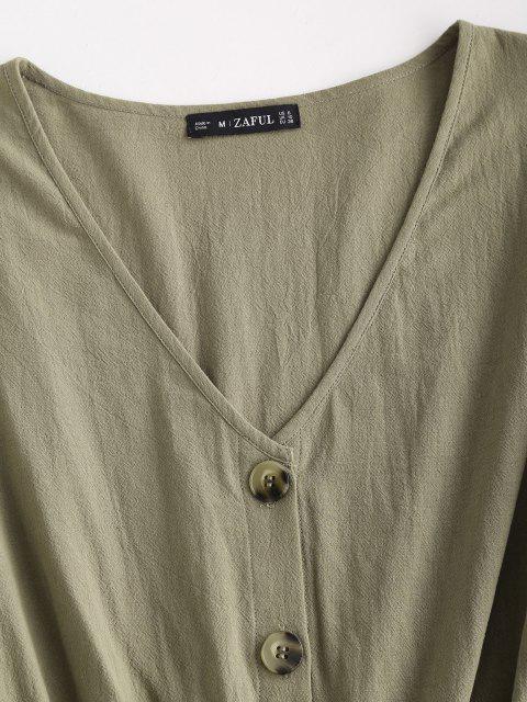 ZAFUL Langarm Strampler mit Knopfleiste und Gürtel - Hellgrün L Mobile