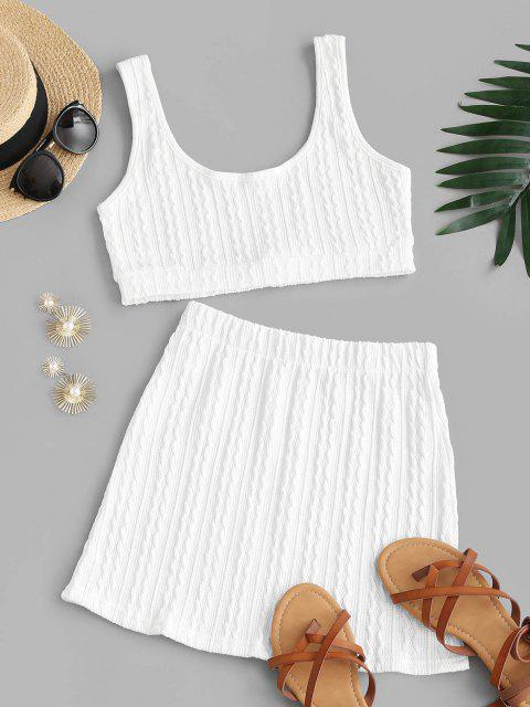 lady Textured Scoop Neck Two Piece Skirt Set - WHITE L Mobile