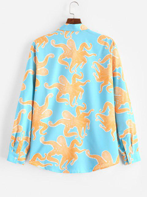 affordable ZAFUL Funny Octopus Print Button Up Long Sleeve Shirt - MULTI XL Mobile