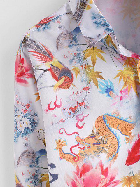 ZAFUL Camisa de Manga Larga Retro con Estampado de Flores de Dragón - Multicolor L Mobile
